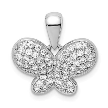 Picture of Sterling Silver Rhodium plated CZ Butterfly Pendant