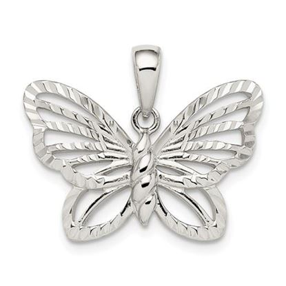 Picture of Sterling Silver Diamond-cut Butterfly Pendant