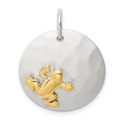 Picture of Sterling Silver Gold-Tone Frog Brushed Pendant