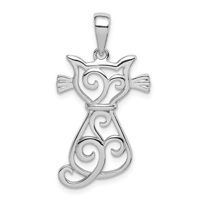Picture of Sterling Silver Rhodium Plated Cat Pendant