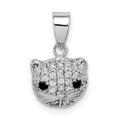 Picture of Sterling Silver Rhodium-plated CZ Cat Pendant