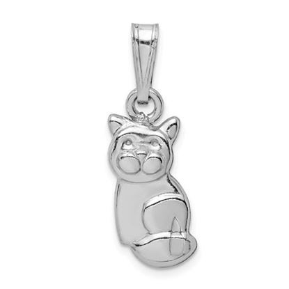 Picture of Sterling Silver Rhodium-plated Polished Cat Pendant