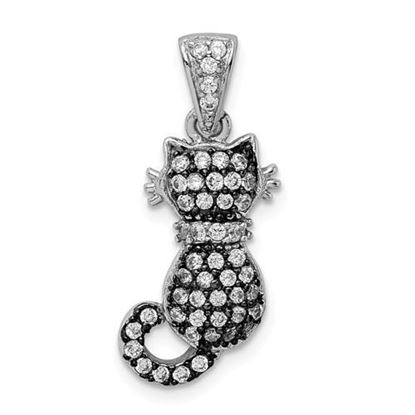 Picture of Sterling Silver Rhodium-plated and Antiqued CZ Cat Pendant