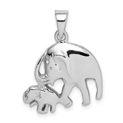 Picture of Sterling Silver Rhodium-plated Elephants Pendant