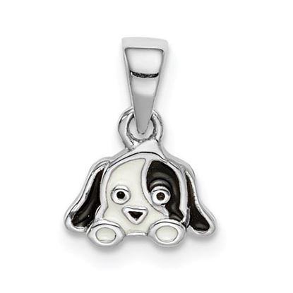 Picture of Sterling Silver Rhodium-plated Childs Enameled Puppy Pendant