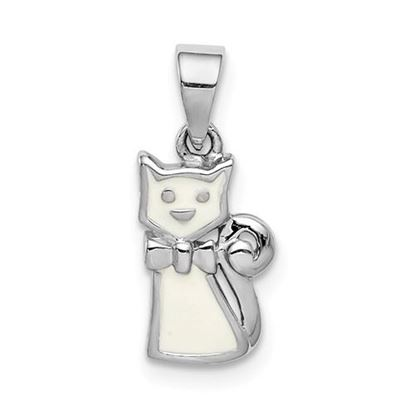 Picture of Sterling Silver Rhodium-plated Childs Enameled White Cat Pendant