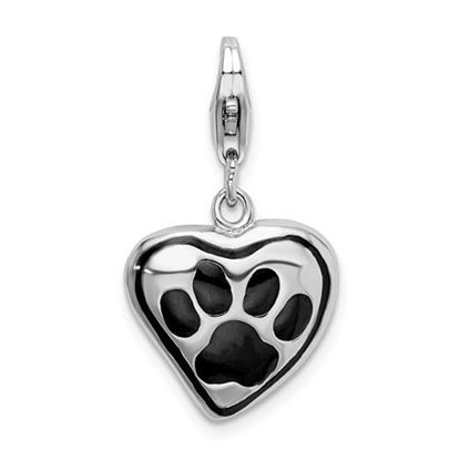 Picture of Sterling Silver Polished And Enameled Heart With Dog Paw Print Charm