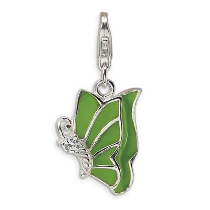 Picture of Sterling Silver Green Enameled and CZ Butterfly Lobster Clasp Charm