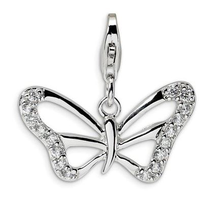 Picture of Sterling Silver CZ Polished Butterfly Lobster Clasp Charm