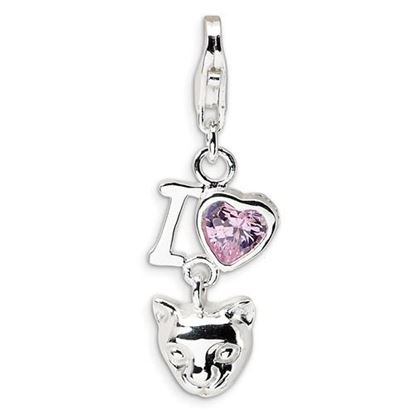 Picture of Sterling Silver CZ I Love Cats Lobster Clasp Charm