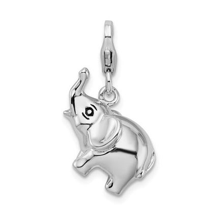 Picture of Sterling Silver 3-D Enameled Elephant Lobster Clasp Charm