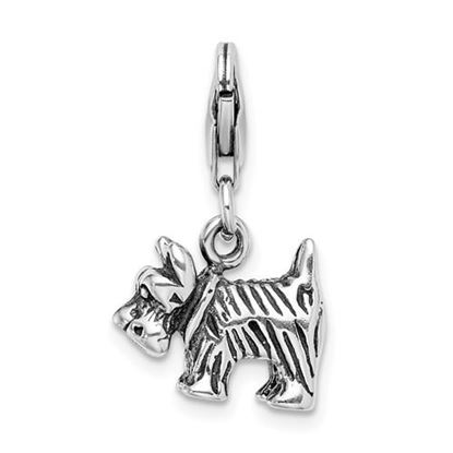 Picture of Sterling Silver 3-D Antiqued Scottie Dog Lobster Clasp Charm