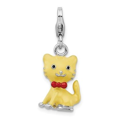 Picture of Sterling Silver Enameled 3-D Cat bow tie Lobster Clasp Charm