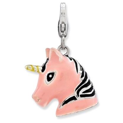 Picture of Sterling Silver 3-D Enameled Unicorn Head Lobster Clasp Charm