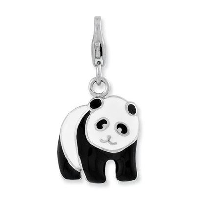 Picture of Sterling Silver Enameled Panda Bear Lobster Clasp Charm