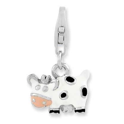 Picture of Sterling Silver Rhodium-plated Enameled Cow Lobster Clasp Charm