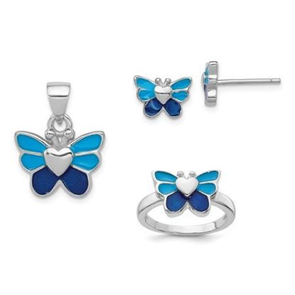 Picture of Sterling Silver Rhodium Butterfly Children's Earring, Ring and Pendant Set