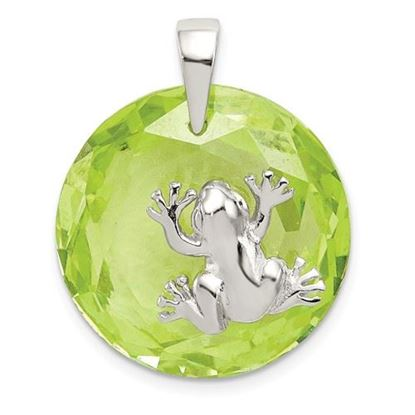 Picture of Sterling Silver Green CZ Frog Pendant