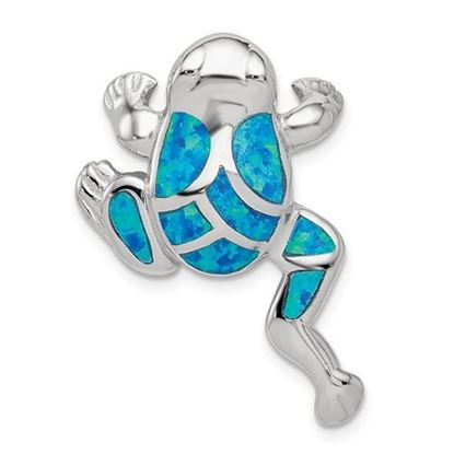 Picture of Sterling Silver Created Blue Opal Inlay Frog Slide Pendant