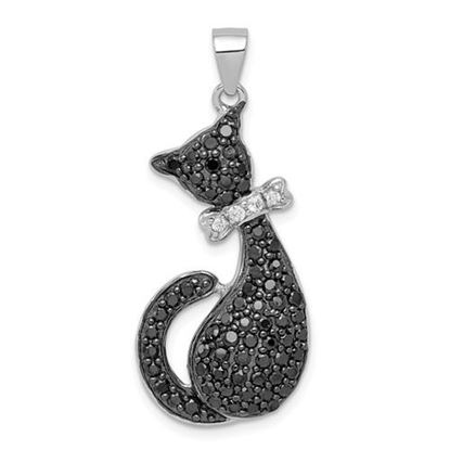 Picture of Sterling Silver Black and White CZ Cat with Bow Pendant