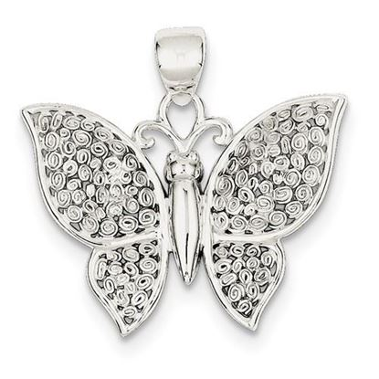 Picture of Sterling Silver Polished and Textured Butterfly Pendant