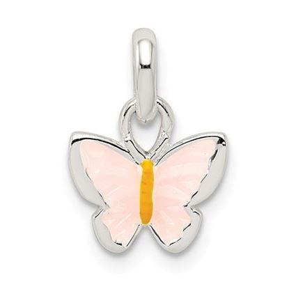 Picture of Sterling Silver Children's Pink Yellow Enameled Butterfly Pendant
