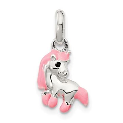 Picture of Sterling Silver Pink Enamel Kid's Horse Pendant