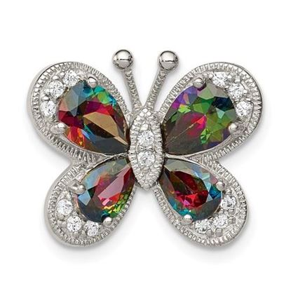 Picture of Sterling Silver Polished Dark Mystic CZ Butterfly Pendant