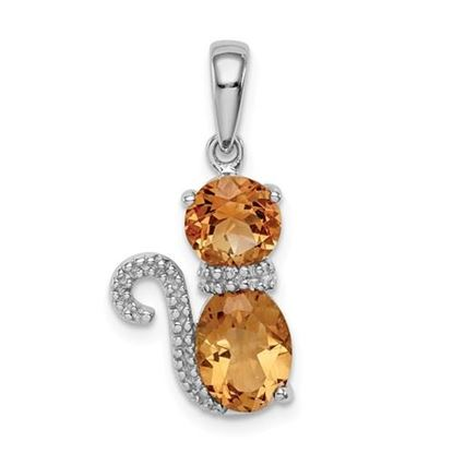 Picture of Sterling Silver Rhodium-plated Citrine and Diamond Cat Pendant