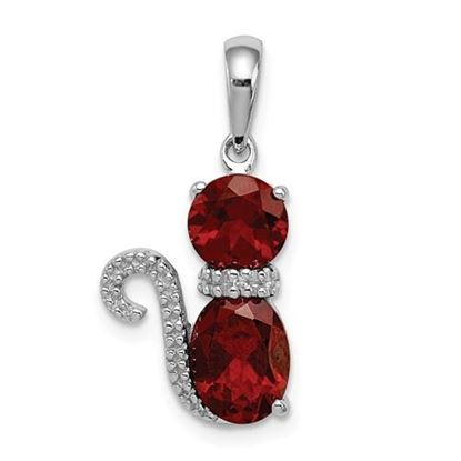 Picture of Sterling Silver Rhodium-plated Garnet and Diamond Cat Pendant