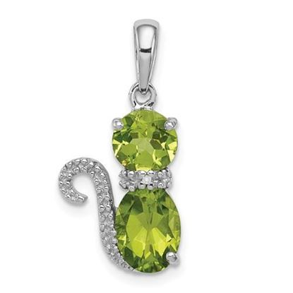 Picture of Sterling Silver Rhodium-plated Peridot and Diamond Cat Pendant