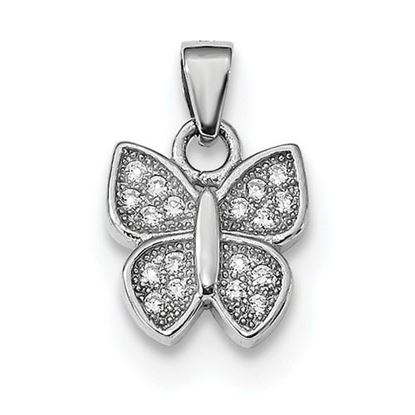 Picture of Sterling Silver Rhodium-plated CZ Butterfly Pendant