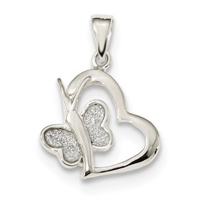 Picture of Sterling Silver Polished Glitter Enamel Heart Butterfly Pendant