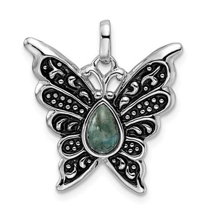 Picture of Sterling Silver Rhodium Oxidized Reconstituted Turquoise Butterfly Pendant