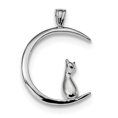 Picture of Sterling Silver Rhodium-plated Cat On Moon Pendant
