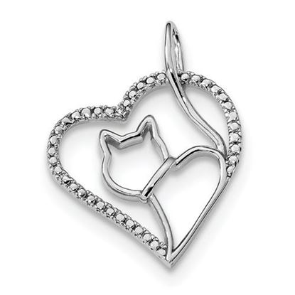 Picture of Sterling Silver Rhodium-plated CZ Heart Cat Silhouette Pendant