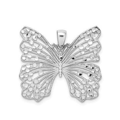 Picture of Sterling Silver Rhodium-plated Brushed and Polished and Diamond Cut Butterfly Pendant