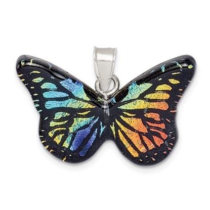 Picture of Sterling Silver Iridescent Butterfly Tree Pendant