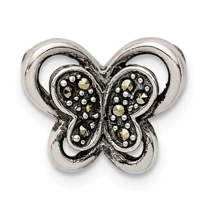 Picture of Sterling Silver Antiqued Marcasite Butterfly Chain Slide