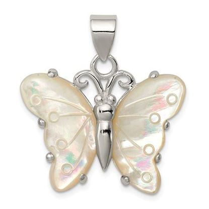 Picture of Sterling Silver White Shell Butterfly Pendant