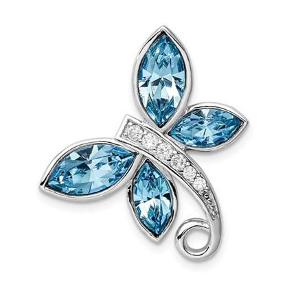 Picture of Sterling Silver Rhodium-plated Clear and Blue Crystal Butterfly Chain Slide