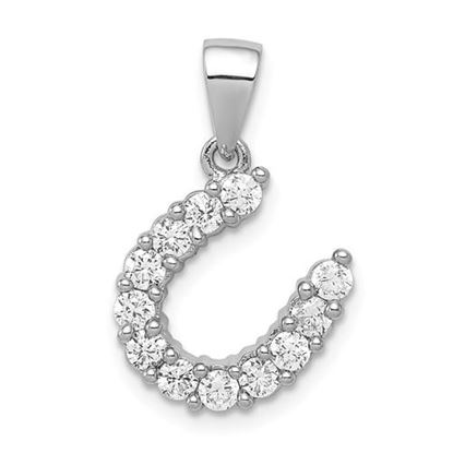 Picture of Sterling Silver Rhodium-plated Horseshoe CZ Pendant