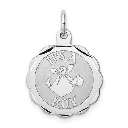 Picture of Sterling Silver Rhodium-plated Its a Boy Charm