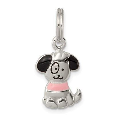 Picture of Sterling Silver Enameled Puppy Charm
