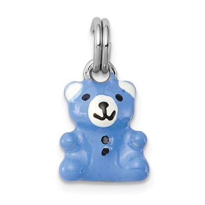Picture of Sterling Silver Rhodium-plated Blue and Enamel Teddy Bear Charm