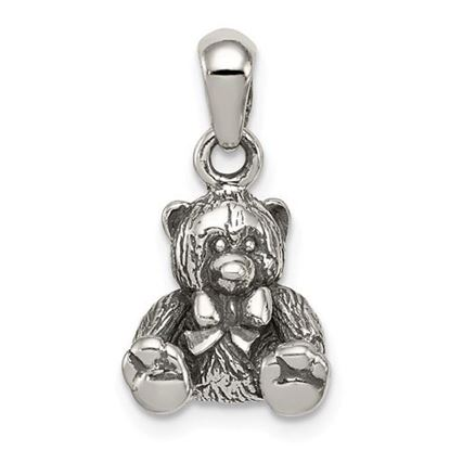 Picture of Sterling Silver Polished Textured Bear Pendant