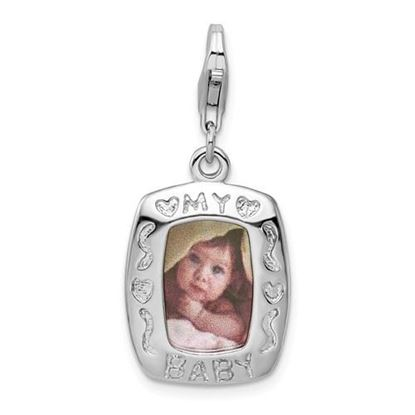 Picture of Sterling Silver Polished My Baby Frame Lobster Clasp Charm