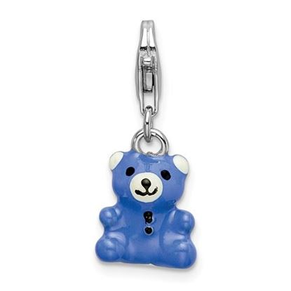 Picture of Sterling Silver Blue Enamel Teddy Bear Lobster Clasp Charm