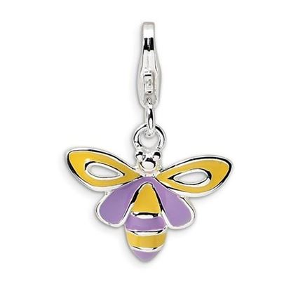Picture of Sterling Silver Enameled Bee Lobster Clasp Charm