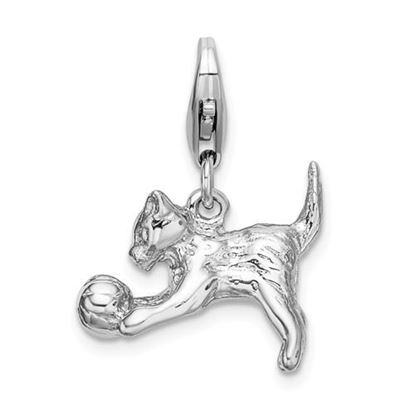 Picture of Sterling Silver 3-D Polished Kitten and Ball Lobster Clasp Charm